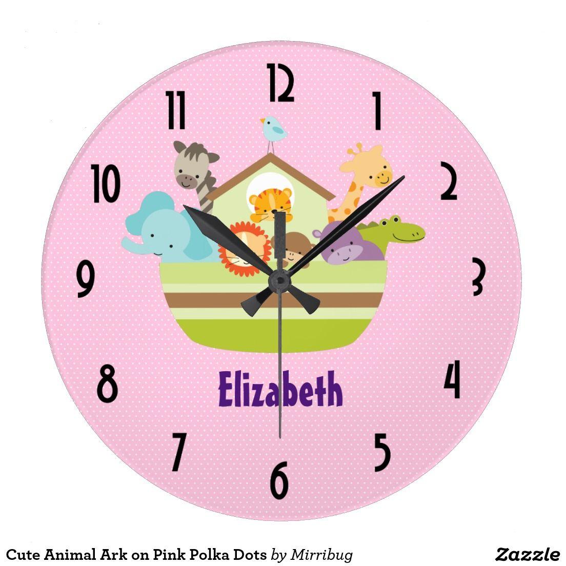 Cute Animal Ark On Pink Polka Dots Large Clock