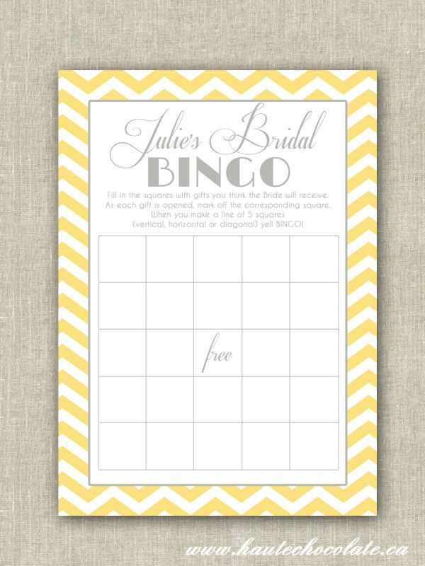 Bridal shower bingo game print it yourself yellow gray chevron items similar to bridal shower bingo game print it yourself yellow gray chevron bridal shower or baby shower bingo on etsy solutioingenieria Choice Image
