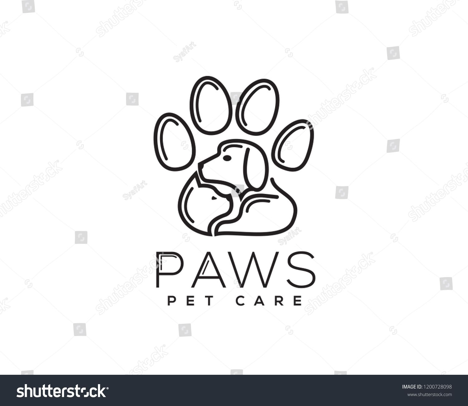 cat and dog in paws logo design inspiration image vector ...