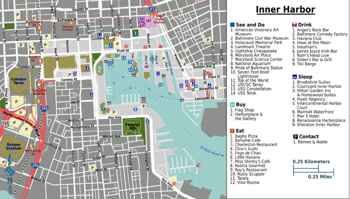Inner Harbor Baltimore Map things to do Need this for the 21st