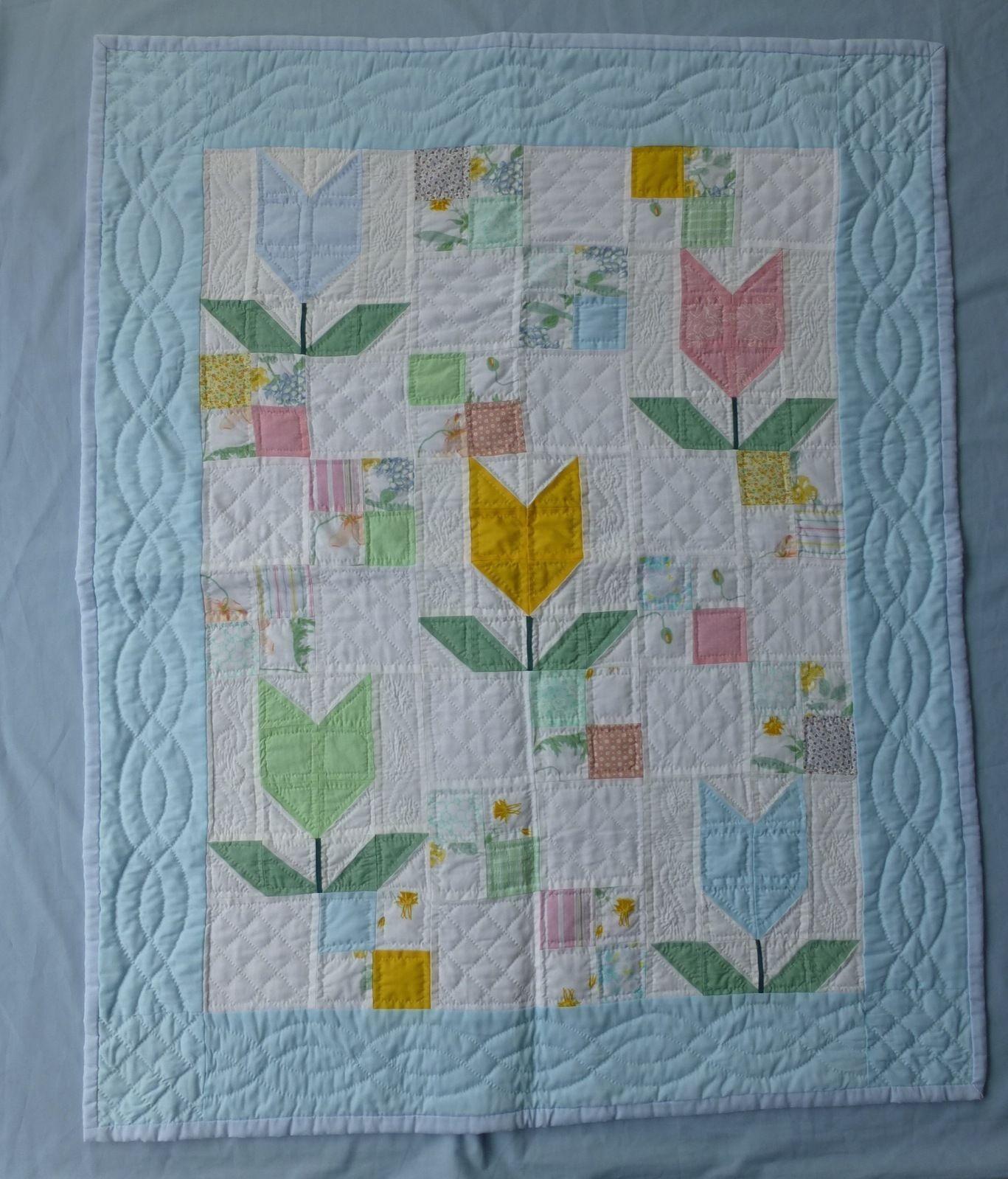 Vintage hand stitched cotton small patchwork quilt child cot crib 90x110cm | eBay