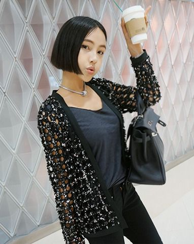 Sequined Mesh Cardigan