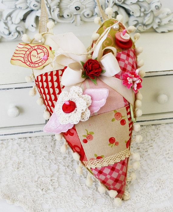 Ruby Handmade Hanging Heart Pincushion by lilybeanpaperie on Etsy