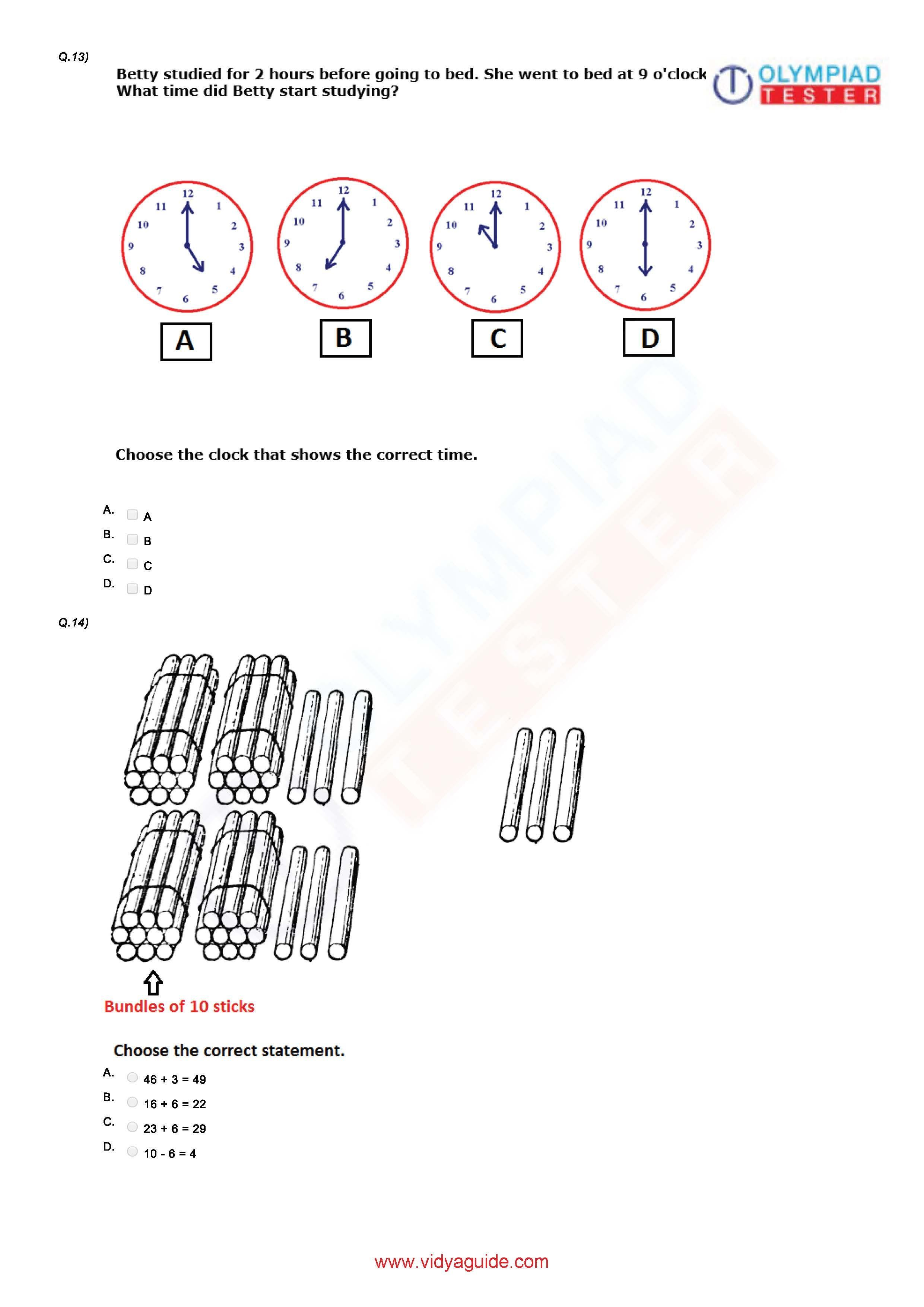 Download Grade 1 Mathematics printable PDF worksheets or take these mock  tests online at Vidyaguide.   Math olympiad [ 3509 x 2481 Pixel ]
