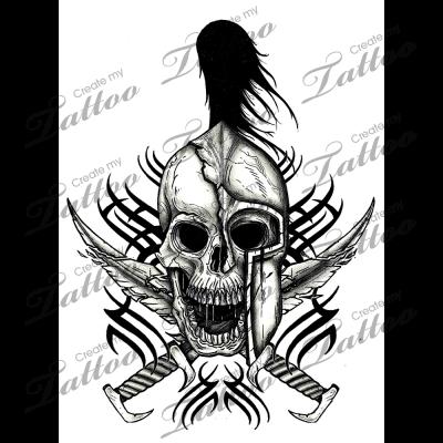 82511c0c8 Marketplace Tattoo Tribal Spartan Skull #3183 | CreateMyTattoo.com ...