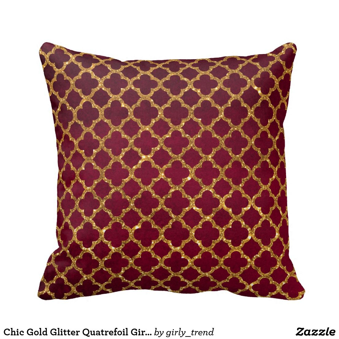 Awesome Chic Gold Glitter Quatrefoil Girly Red Burgundy Throw Pillow Creativecarmelina Interior Chair Design Creativecarmelinacom