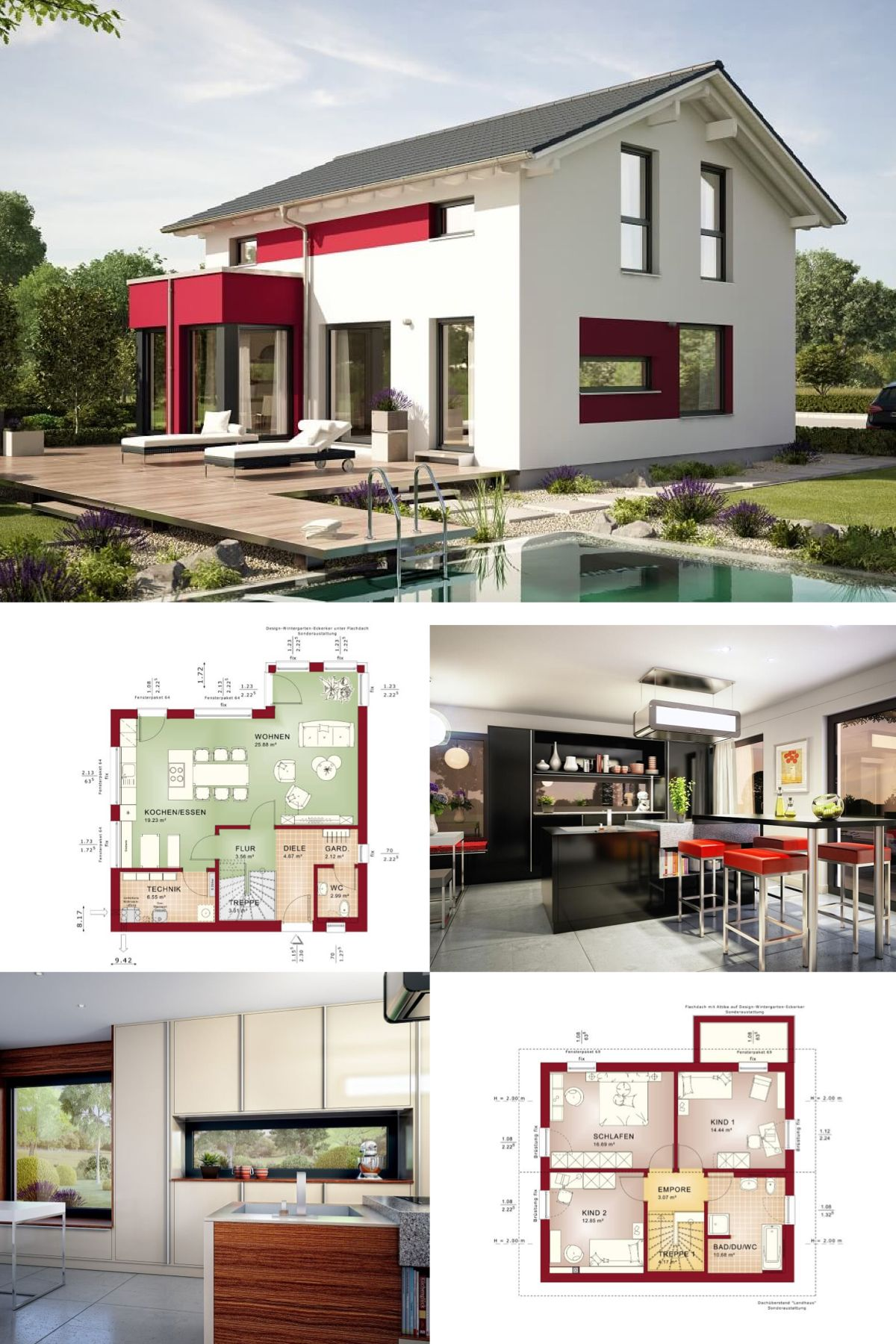 Einfamilienhaus Modern Grundriss   Haus Edition 1 V4 Bien Zenker    Fertighaus Satteldach Fassadengestaltung Putz
