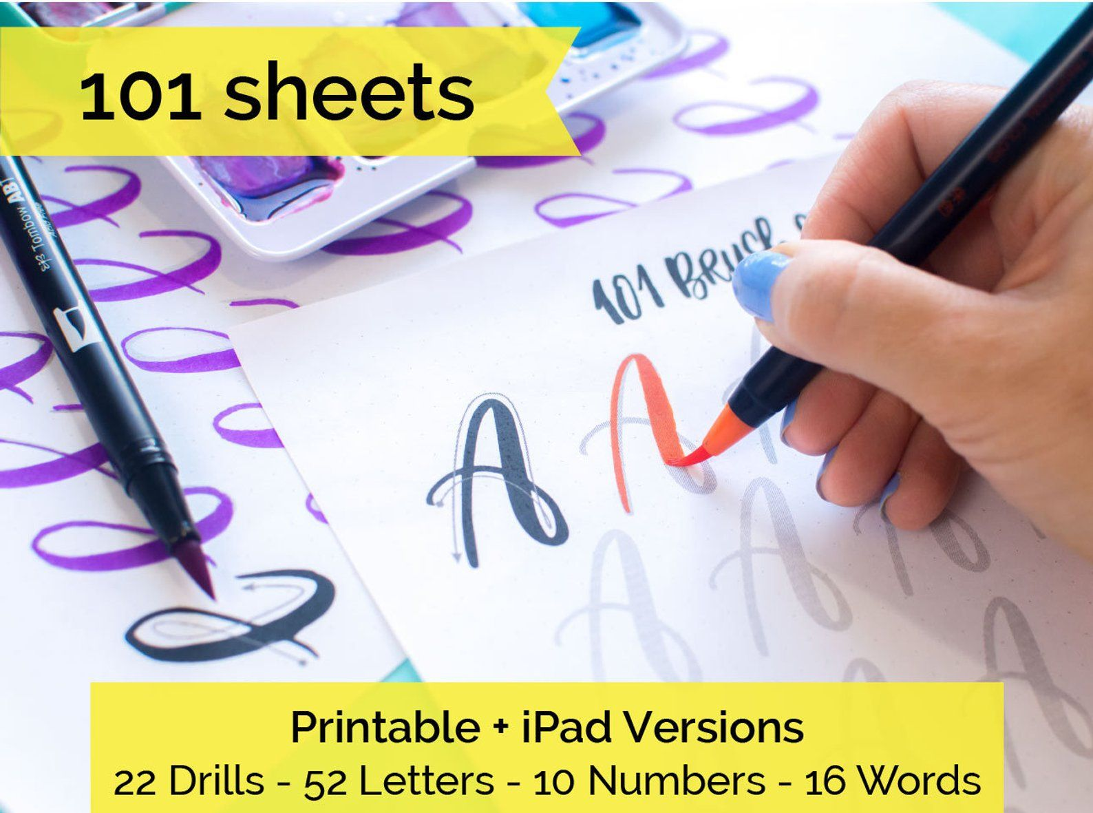 101 Worksheets Brush Lettering Calligraphy Practice Drills