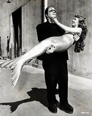 Ann Blyth in costume for Mr. Peabody and the Mermaid and Glenn Strange in costume for Abbott & Costello Meet Frankenstein, 1948