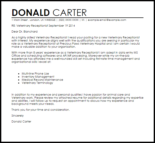 sample cover letter for receptionist job