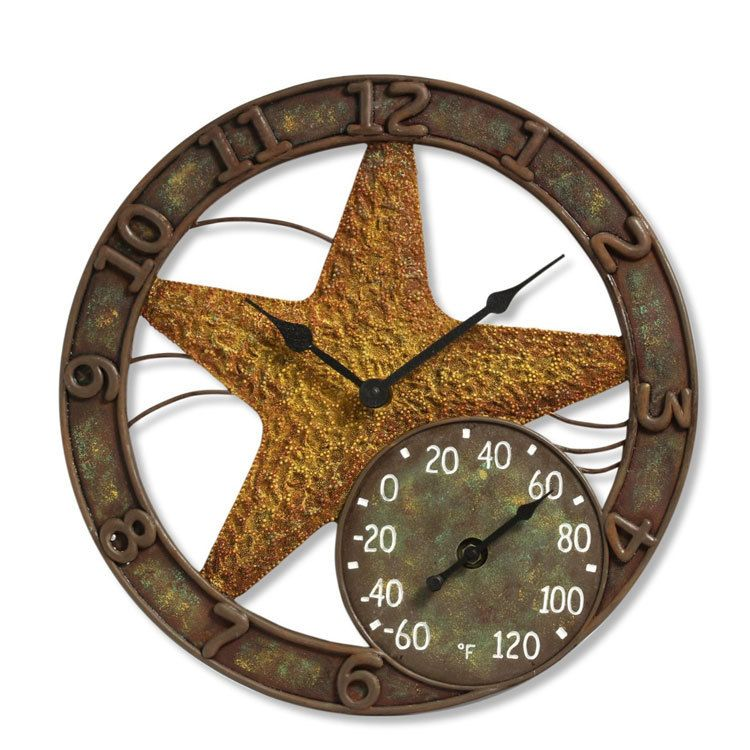 12 Round Sandals Outdoor Clock And Thermometer Outdoor Clock Clock Wall Clock