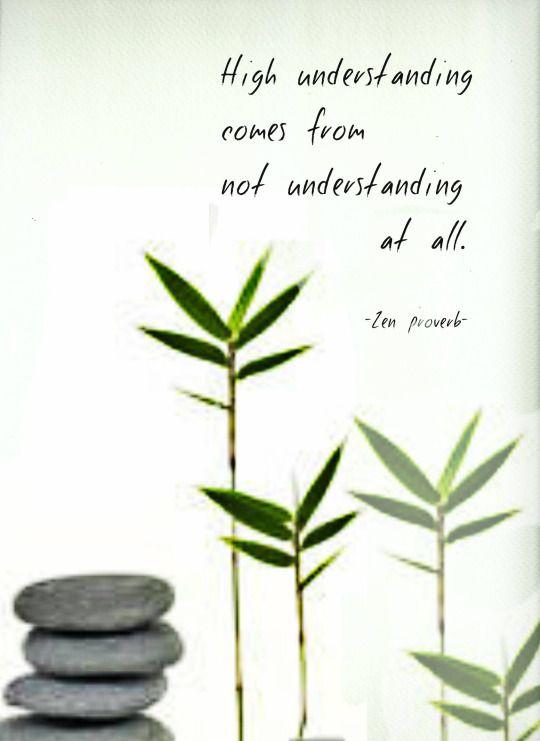 High Understanding Comes From Not Understanding At All Zen Proverb Classy Quotes Zen