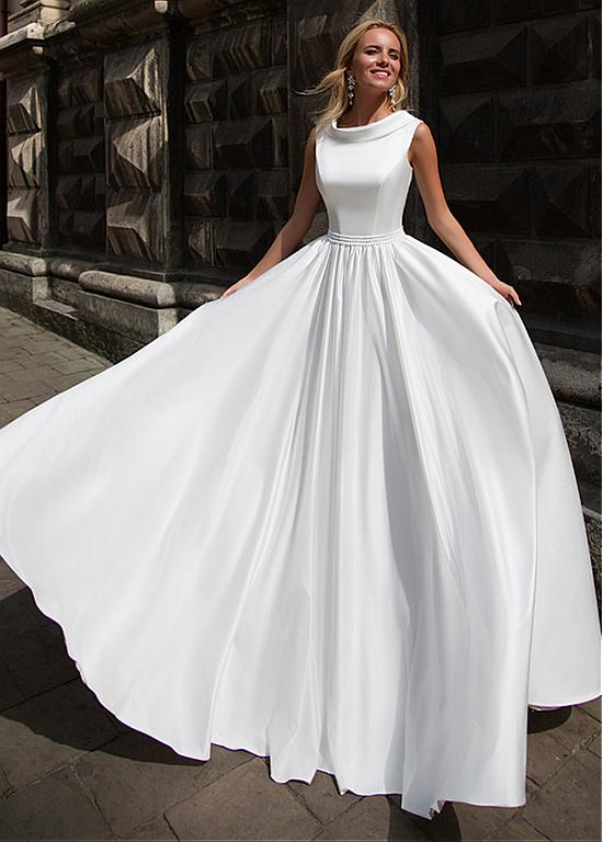 Romantic Satin Jewel Neckline A-Line Wedding Dress With Beadings