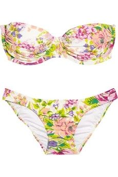 Zimmermann|Floral-print bandeau bikini|NET-A-PORTER.COM - StyleSays