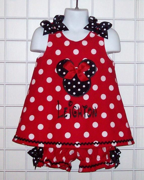 2d69406fb7a8 Red Polka Dot Minnie Mouse Applique Monogram A-line Top and Bloomers ...