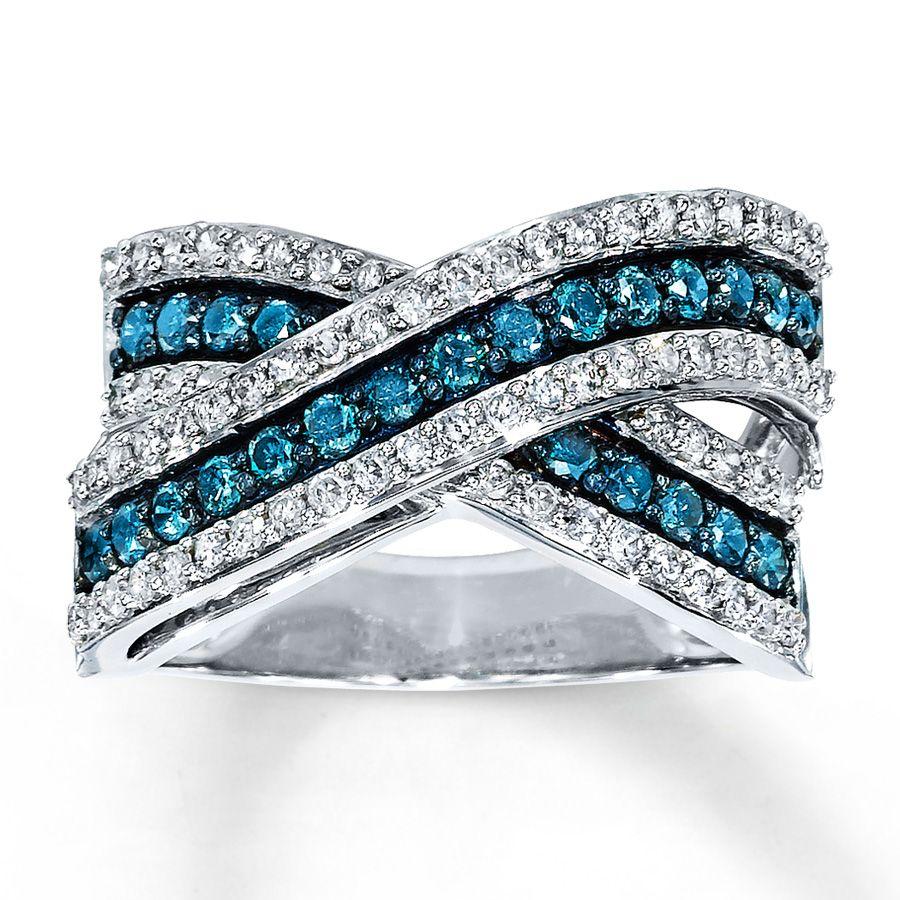 Blue Diamond Ring 1 Ct Tw Round Cut 14k White Gold