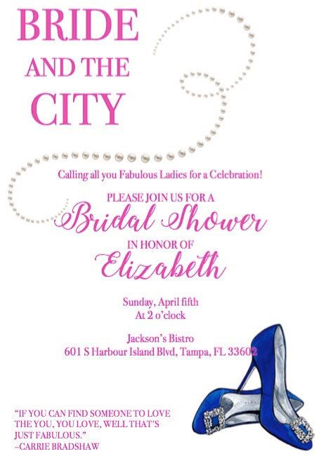 sex and the city bridal shower invite bride and the city by vieestrose on etsy