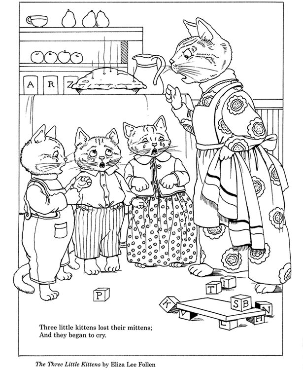 Three Little Kittens Coloring Page From Dover Coloring
