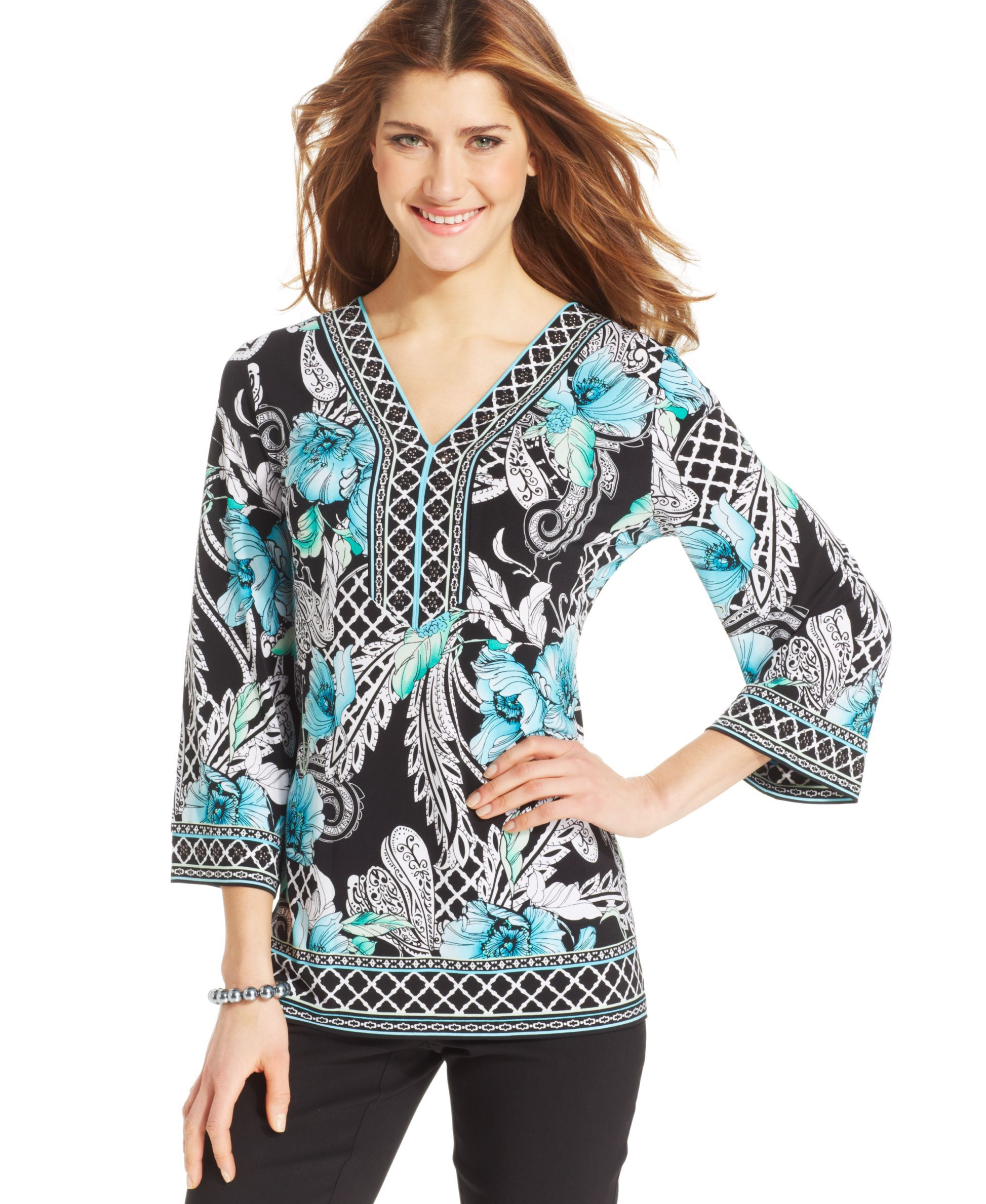 JM Collection Grommet-Trim Mixed-Print Tunic, Created for