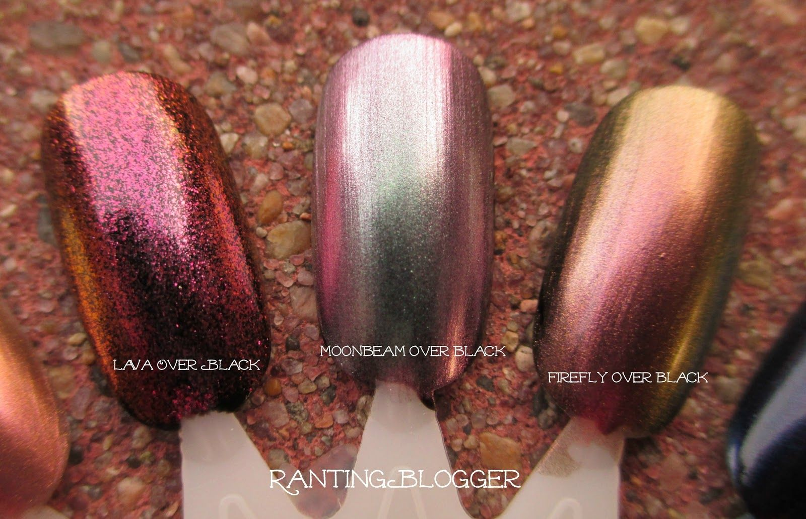Sally Hansen Lustre Shine duochrome nail polishes layered over black ...