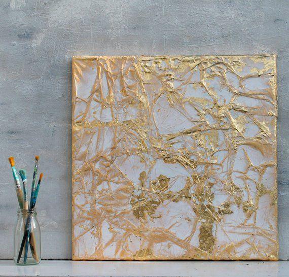 Blattgold Abstrakte Malerei Gold 40x40x15 Cm
