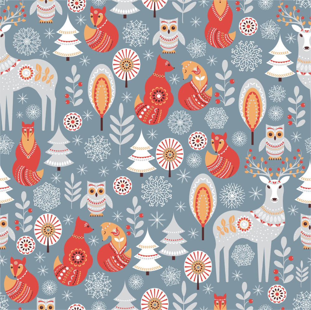 Olivia Paper Co Set Of 3 Wrapping Paper Forest Holiday Etsy In 2020 Scandinavian Style Folk Art Seamless Patterns
