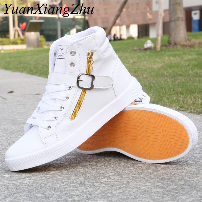 Hot Men High White Shoes Mens Hip-Hop Casual Shoes 2018 New Korean Fashion  Zipper Decoration Comfortable Lace Men High Top Shoes 65a0187c6108