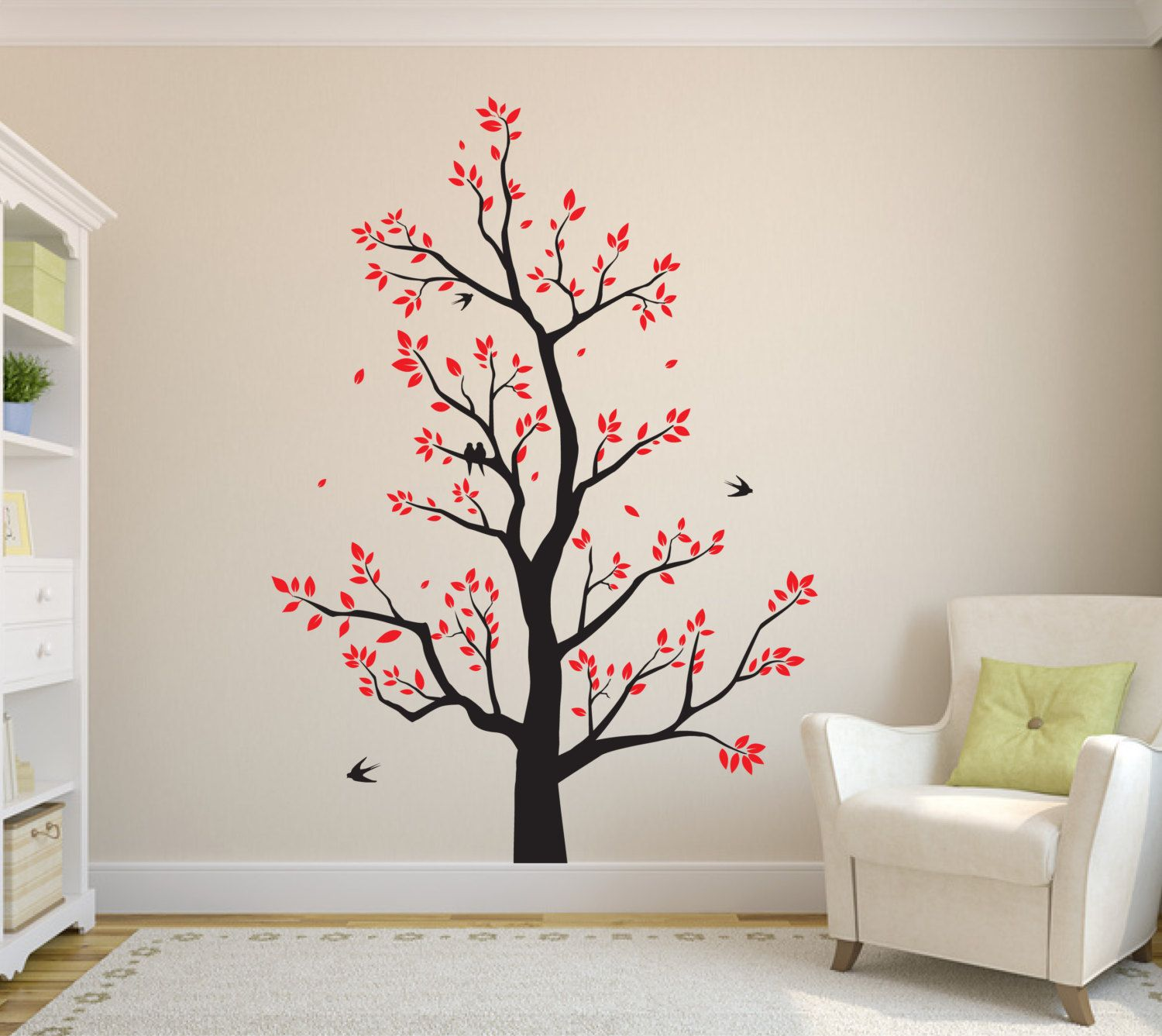 Large Tree Wall Sticker With Leaves Branches Flying Birds
