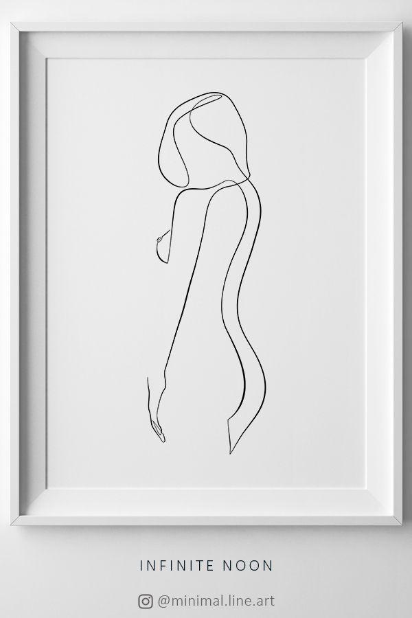 Photo of Woman Body Outline Print, Female One Line Drawing, Feminine Body Printable Decor, Minimalist Sketch Figure Print, Simple Bedroom Wall Art