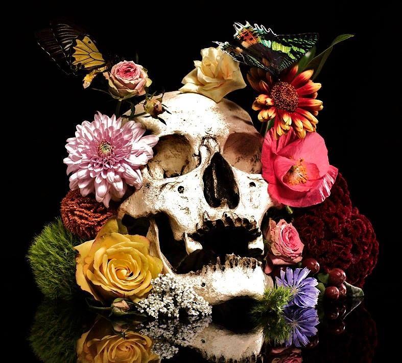 Картинки цветы с черепами