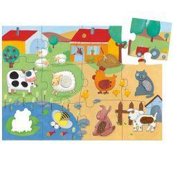 PUZZLE TACTILO FERME DJECO. Un puzzle géant (Dim. 70 x 50 cm) de 20 pièces avec 8 animaux de la ferme aux textures différentes à placer et à découvrir par le toucher.