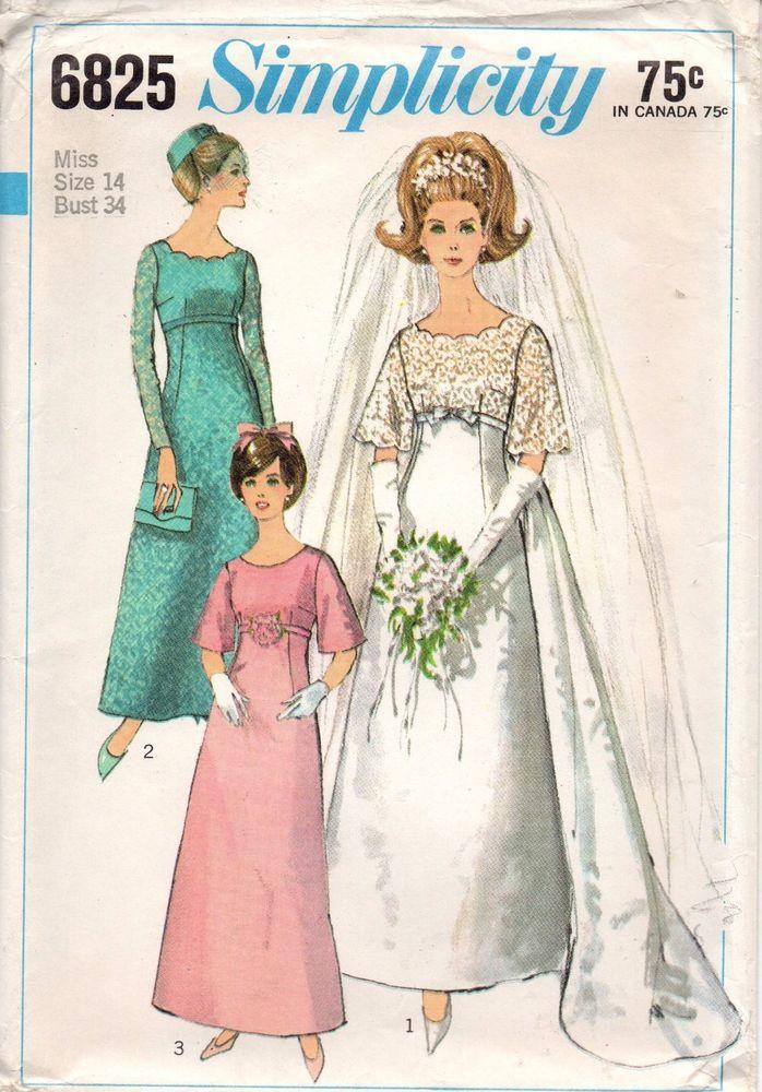 Simplicity Sewing Patterns Wedding Bridesmaid Dress #6825 SZ 14 Bust ...
