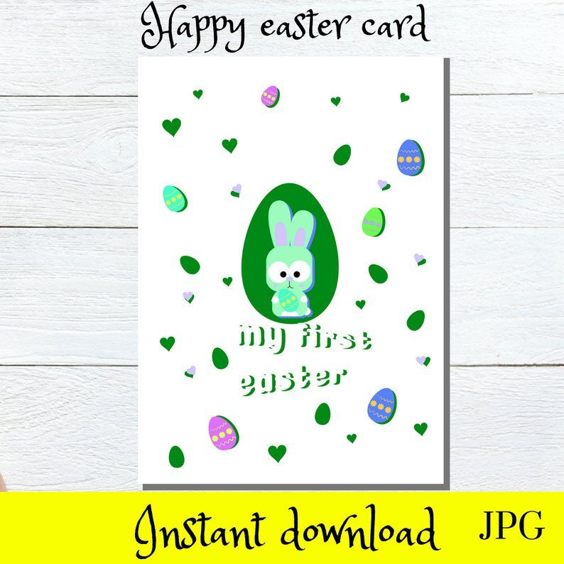 Baby S First Easter Printables Easter Greetings Card Etsy Happy Easter Card Greeting Card Template Easter Greetings