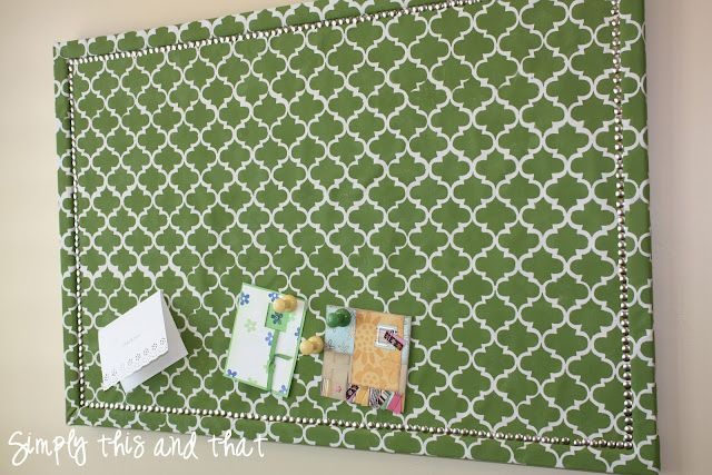 Simply This and that: Stenciled Fabric Cork Board