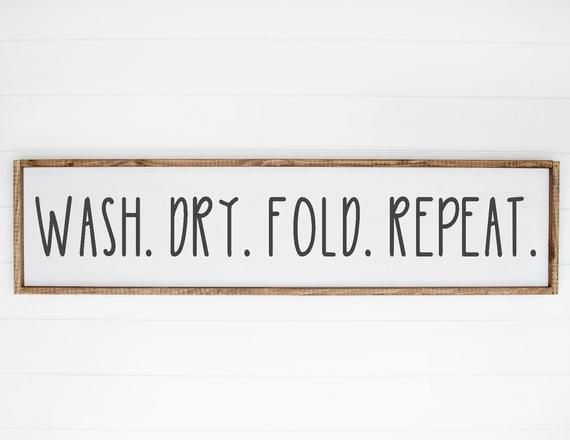 Wash Dry Fold Repeat SVG, Laundry Sign SVG, Home Decor Farmhouse SVG, Wash Room, Bathroom, Family, Quote, Silhouette Cricut Cut File svg #laundrysigns