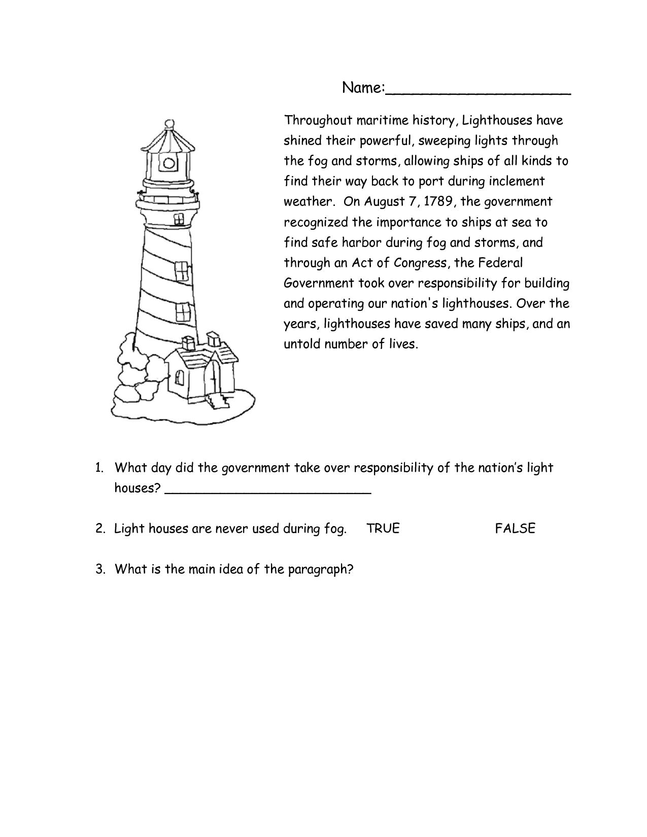 Printable Light Worksheets : Lighthouse worksheets printable reading