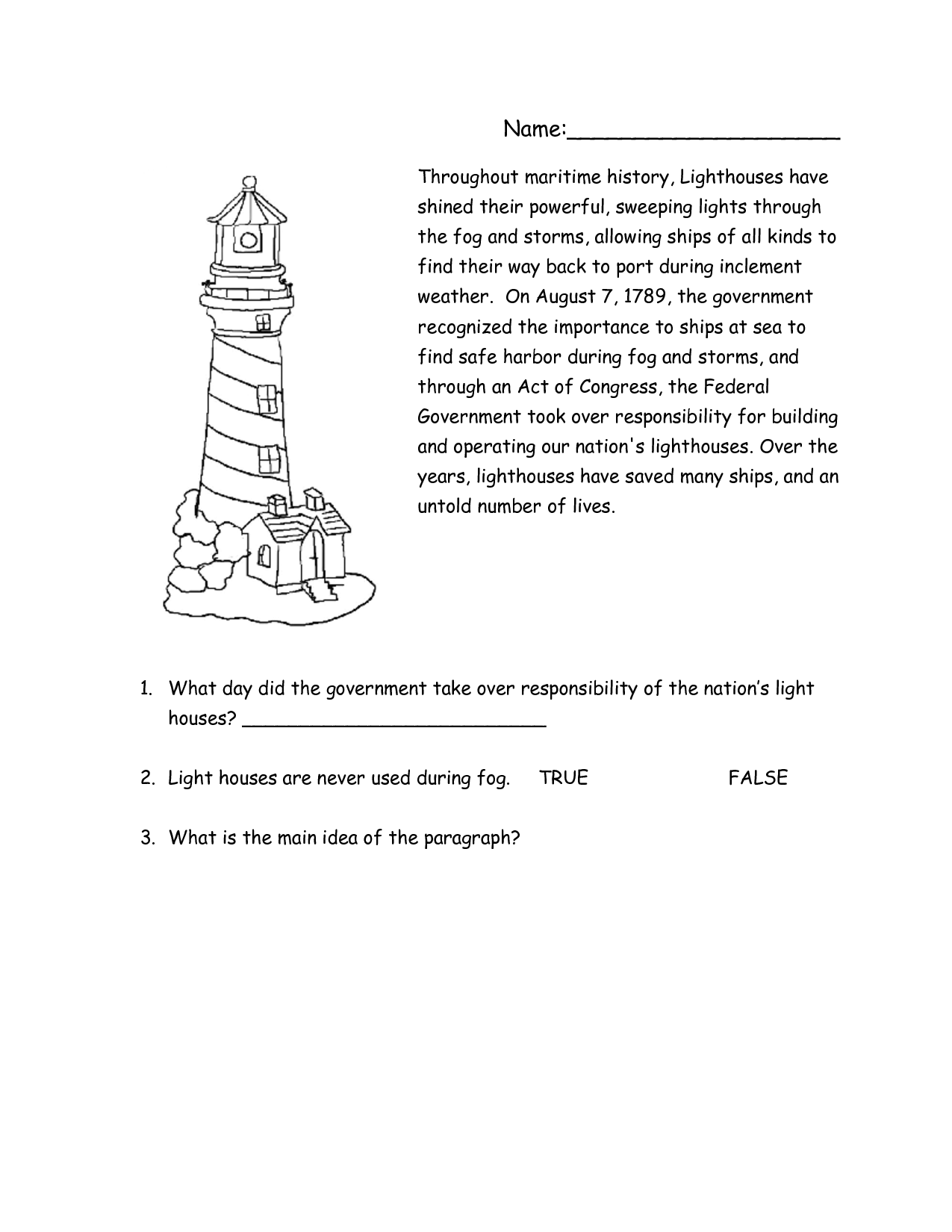 lighthouse worksheets printable | lighthouse reading comprehension ...
