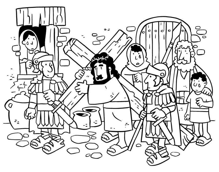 easter story coloring pages - jesus and the cross bible colouring pages pinterest