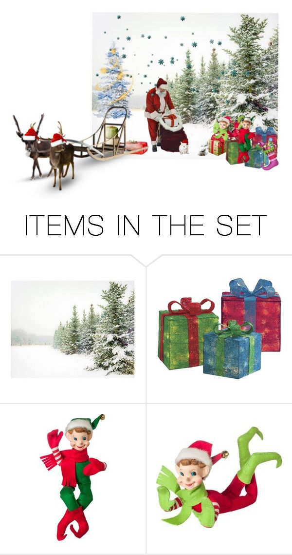 """""""Helping Santa Pack"""" by enchanticals ❤ liked on Polyvore featuring art, Winter, contest, Flowers, in and greenery"""