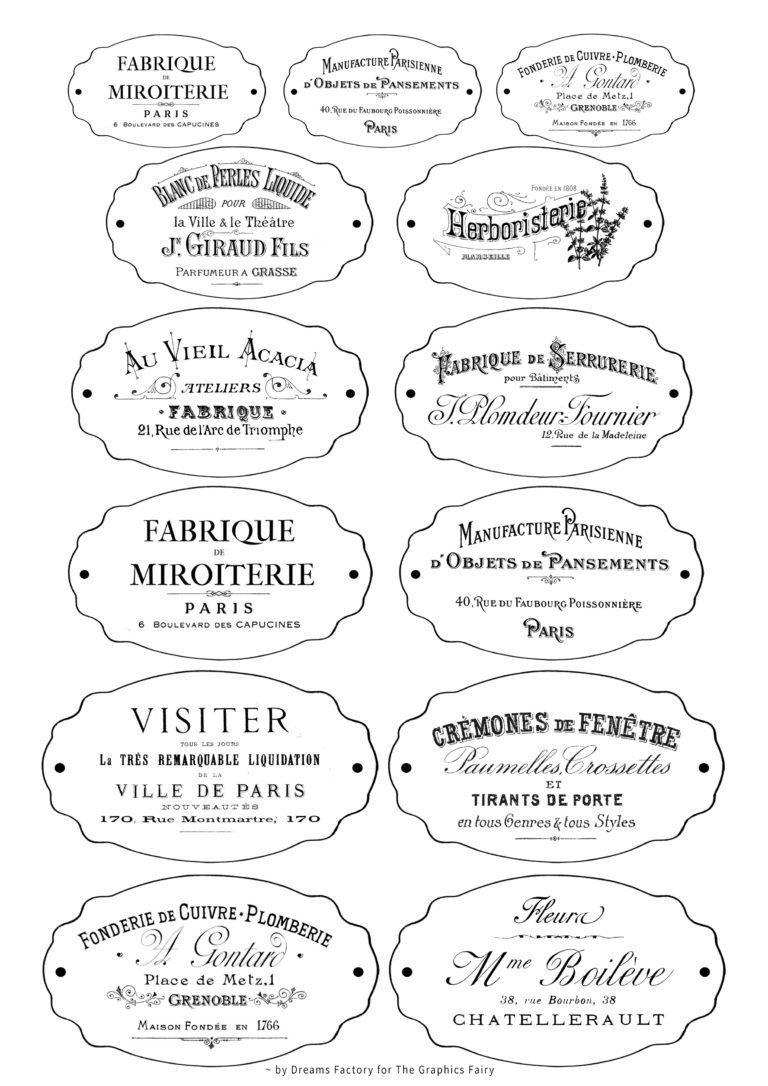Vintage Labels Printables Diy Faux Rusted French Labels Free