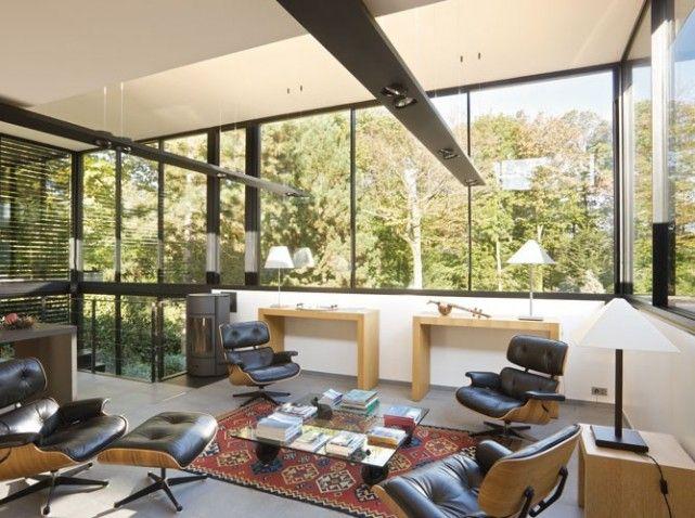 Intérieur Maison de verre, Stéphane Béranger extension Pinterest - maison toit en verre