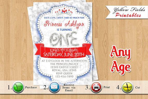 Princess Birthday Invitation Red White Blue by YellowFieldsDesigns