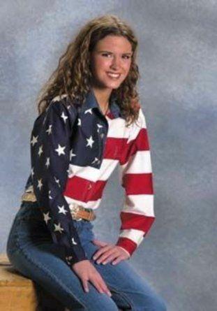 64a7a029 Women's Long Sleeve Roper Stars & Stripes Pieced American Flag ...