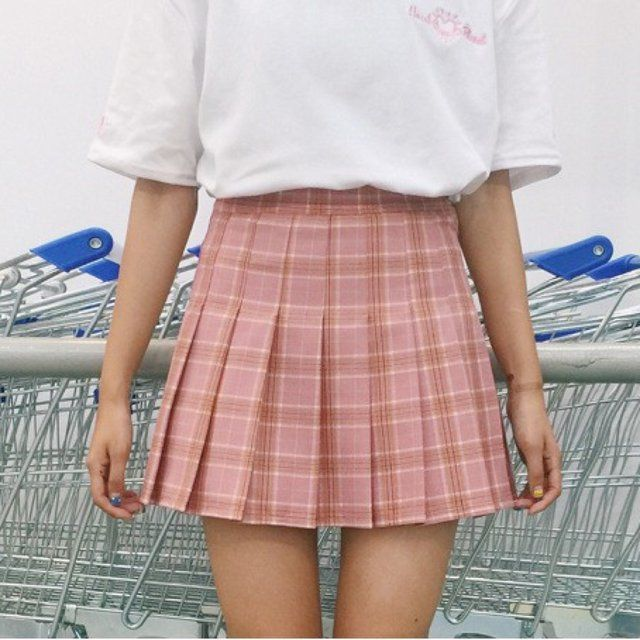 4bcee22c1c78 New Cute kawaii pink, purple and yellow plaid pleated tennis skirt! Similar  to American