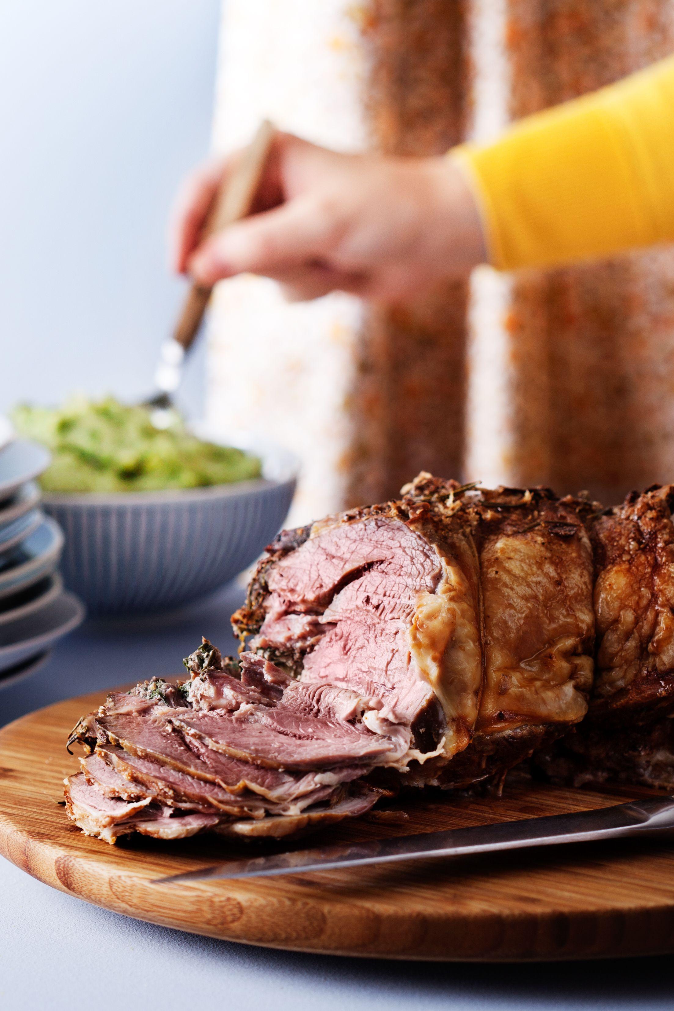 Lowcarb lamb roast with broccoli purée Recipe Pureed