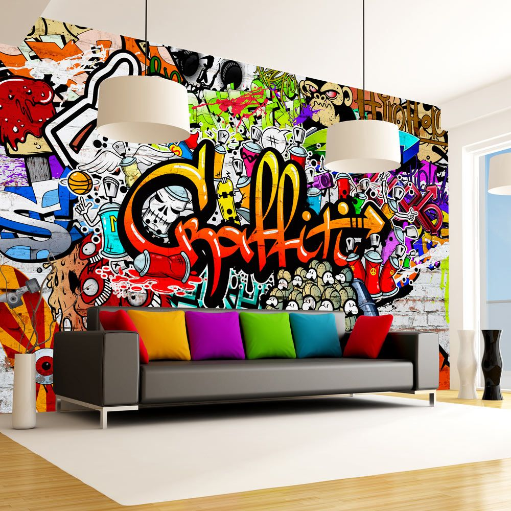 details zu fototapete graffiti vlies tapete kinderzimmer wandbild xxl 3 farben f a 0348 a b. Black Bedroom Furniture Sets. Home Design Ideas