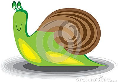 Vector illustration. A cartoon illustration of a smiling snail.