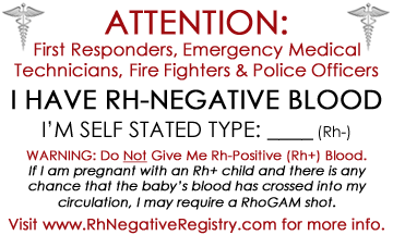 Rh-Negative ID Card for Emergencies - Print Yours! | Health | Ab