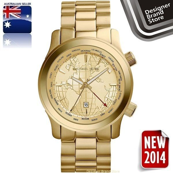 d363320e51018 NEW 2014 MICHAEL KORS WATCH RUNWAY GMT OVERSIZED GOLD TONE WORLD MAP DIAL  MK5960