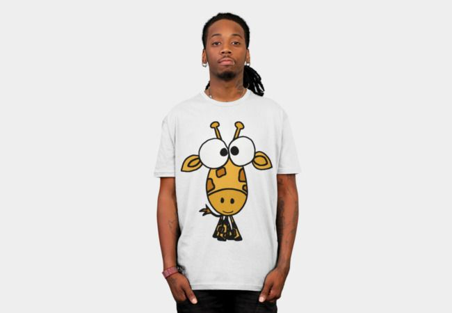 Fun Big Headed Giraffe Cartoon T-Shirt - Design By Humans